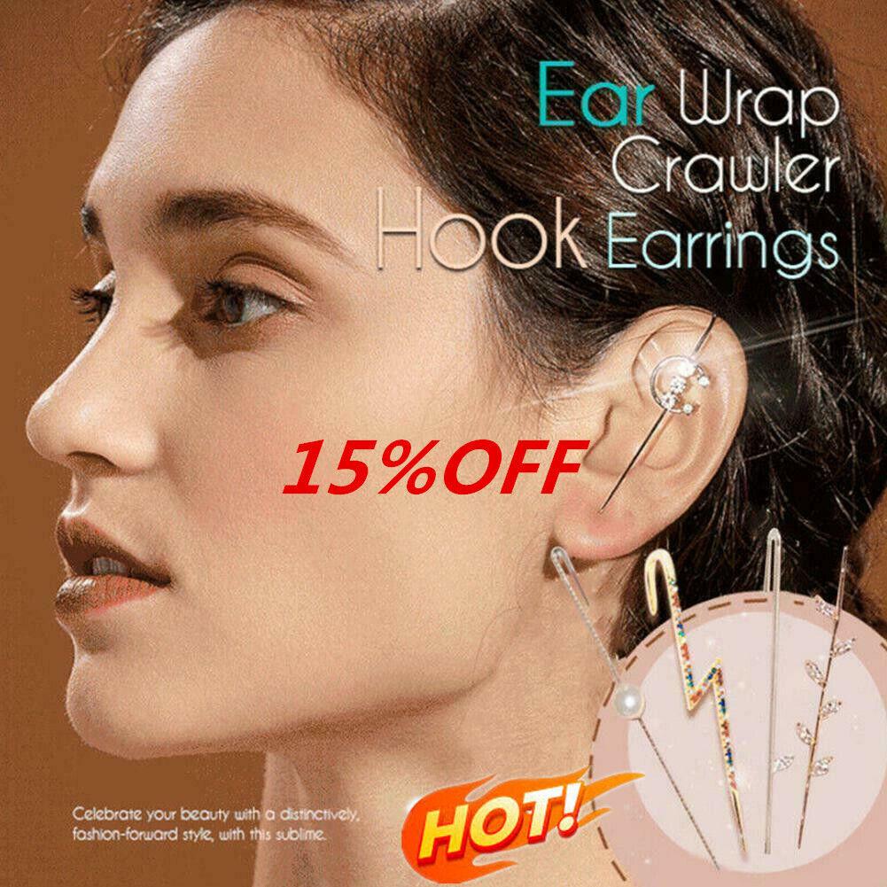 Damen Geometrische Ohr Wickel Crawler Vintage Lang Haken Ohrring Ohrclip Schmuck