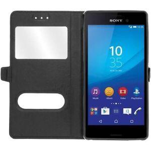 Etui-Housse-Coque-Pochette-View-Case-Noir-pour-Sony-Xperia-Z5