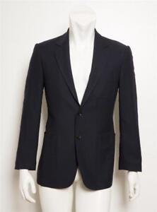 online store 009c7 6958b Dettagli su Gucci Uomo Navy Scuro Blu Lana 2-Button Giacca per Completo  Sport Cappotto