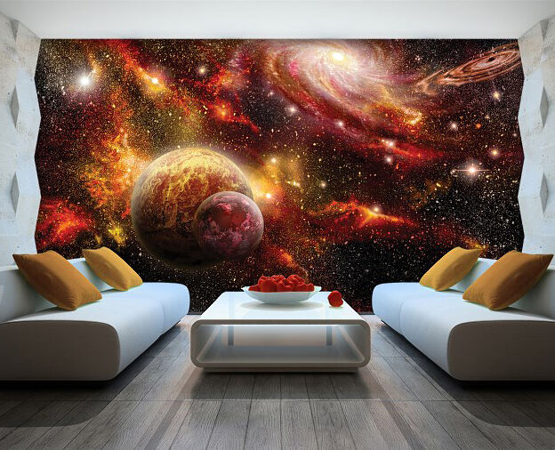 3D Porthole View Space Planets Moon Stars Wall Sticker Poster M17-540