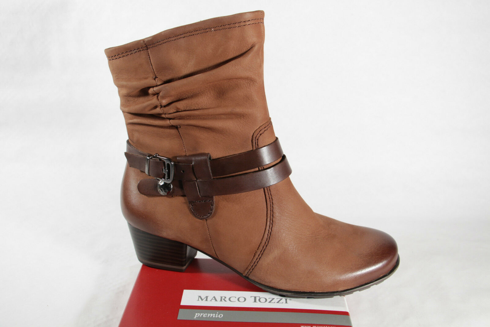 MARCO TOZZI Boots, Ankle Boots, Leather, Brown, Padded, RV 25002 NEW