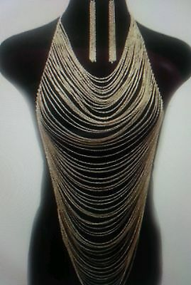 Jet Set Gold Strands Body Chain Necklace Jewelry Multi Strands with Earrings