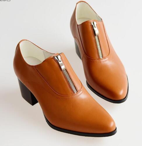 British Homme Fermeture Éclair Bout Pointu Mariage Talon Cubain Cuir formelle robe chaussures