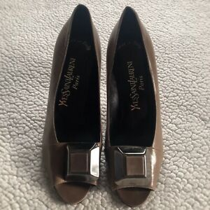 Ysl-Yves-Saint-Laurent-Womens-Brown-Patent-Leather-Pumps-Open-Toe-Heels-Size-8-M