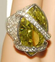 Bling Bling - Fashion Designer Ring - Green - Large Gem Sz 5 1/2 - 6 Tags