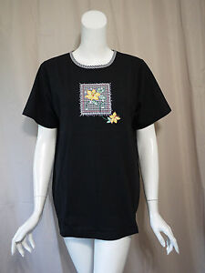 NWT-New-Quacker-Factory-Black-Cap-Sleeve-Blouse-Top-size-M
