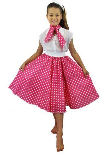 GIRLS 1950/'S CIRCLE SKIRT NECK TIE LONG PINK /& WHITE SPOT FANCY DRESS DANCE