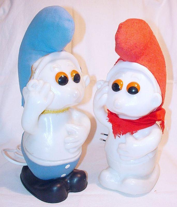 2x Italian SMURF BEDLIGHT LAMP Set Peyo 1983 Smurfs NM