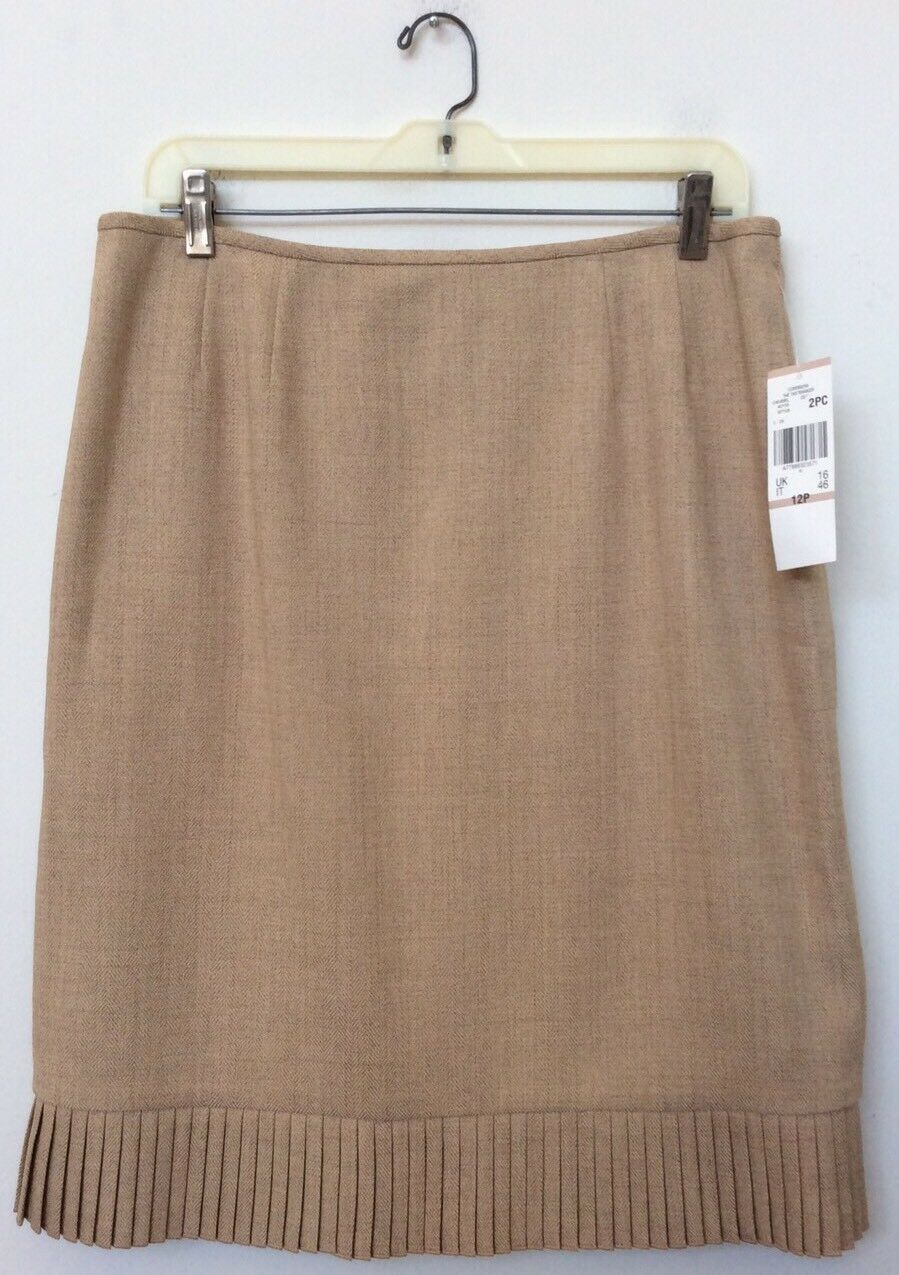 NWT Le Suit Women's Career Beige Polyester Polyester Polyester Blend 2 Piece Skirt Suit Sz 12P  200 dbdf37