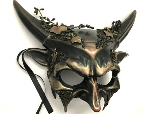 Halloween costume Devil Mens Masquerade Mask Horn Haunt House Party or Wall Deco
