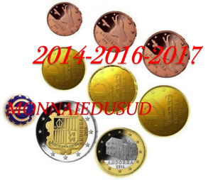 Serie-1-Cent-a-2-Euro-Andorre-2014-2016-2017-Serie-UNC-Mixte