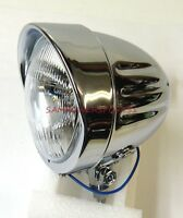 4 1/2 Ribbed Passing Spotlight Lamp With Visor Headlight Harley H3 12v 55w Bulb