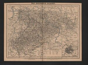 Carte Map 1885: Le Royaume De Saxe.-afficher Le Titre D'origine