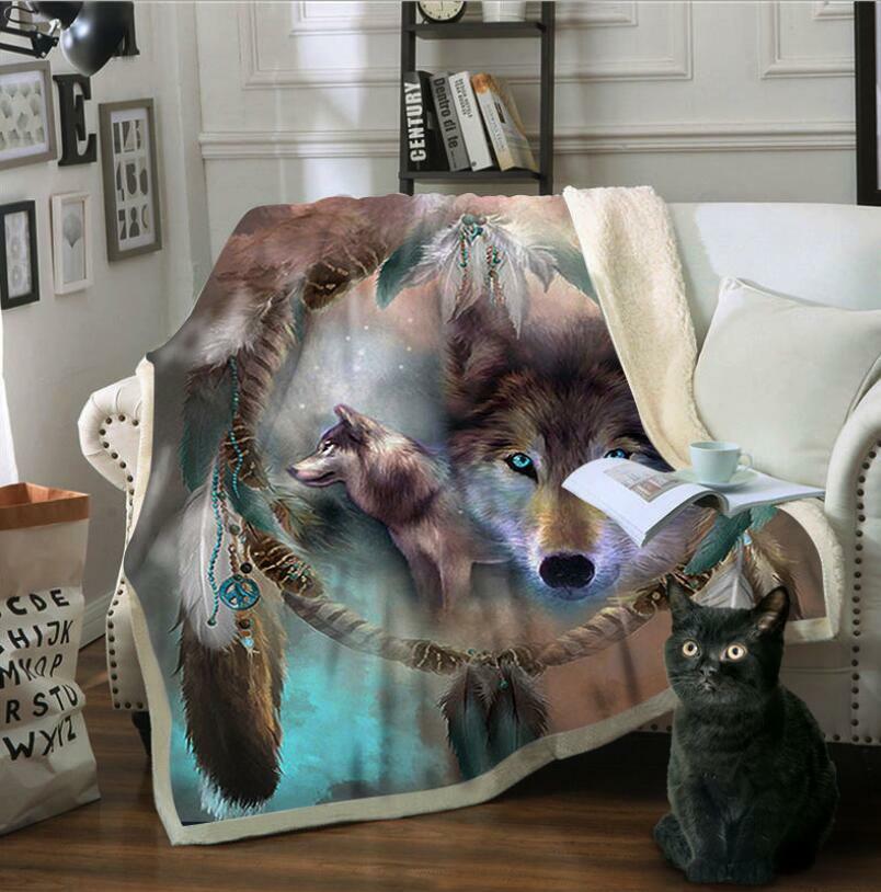 3D Wolfsfeder ZHU135 Warm Plüsch Fleece Decke Picknick Sofa Couch Quilt Bett