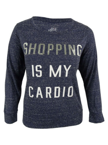 """Style /& Co Women/'s /""""Shopping Is My Cardio/"""" Long Sleeves Top 1X, Ink"""