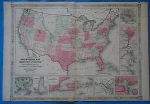Vintage 1864 United States Territories Map Antique Original Johnson - Us-map-1864