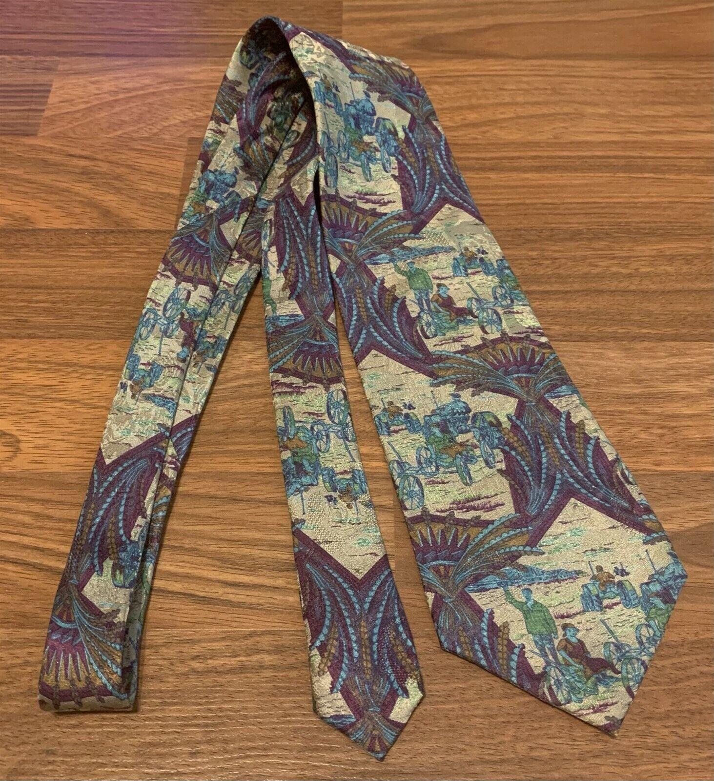 Seigo Katsuragawa for Nordstrom Multicolor Farmer Scene Printed Silk Tie