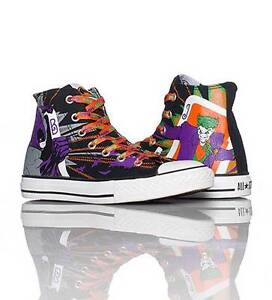 69b0a466bee4f7 Converse BATMAN   JOKER HI TOP Shoes 3 Sets Laces Wild Lining NIB ...