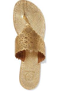 84bbce680cbb2 New TORY BURCH Roselle metallic GOLD leather Flat thong sandals ...