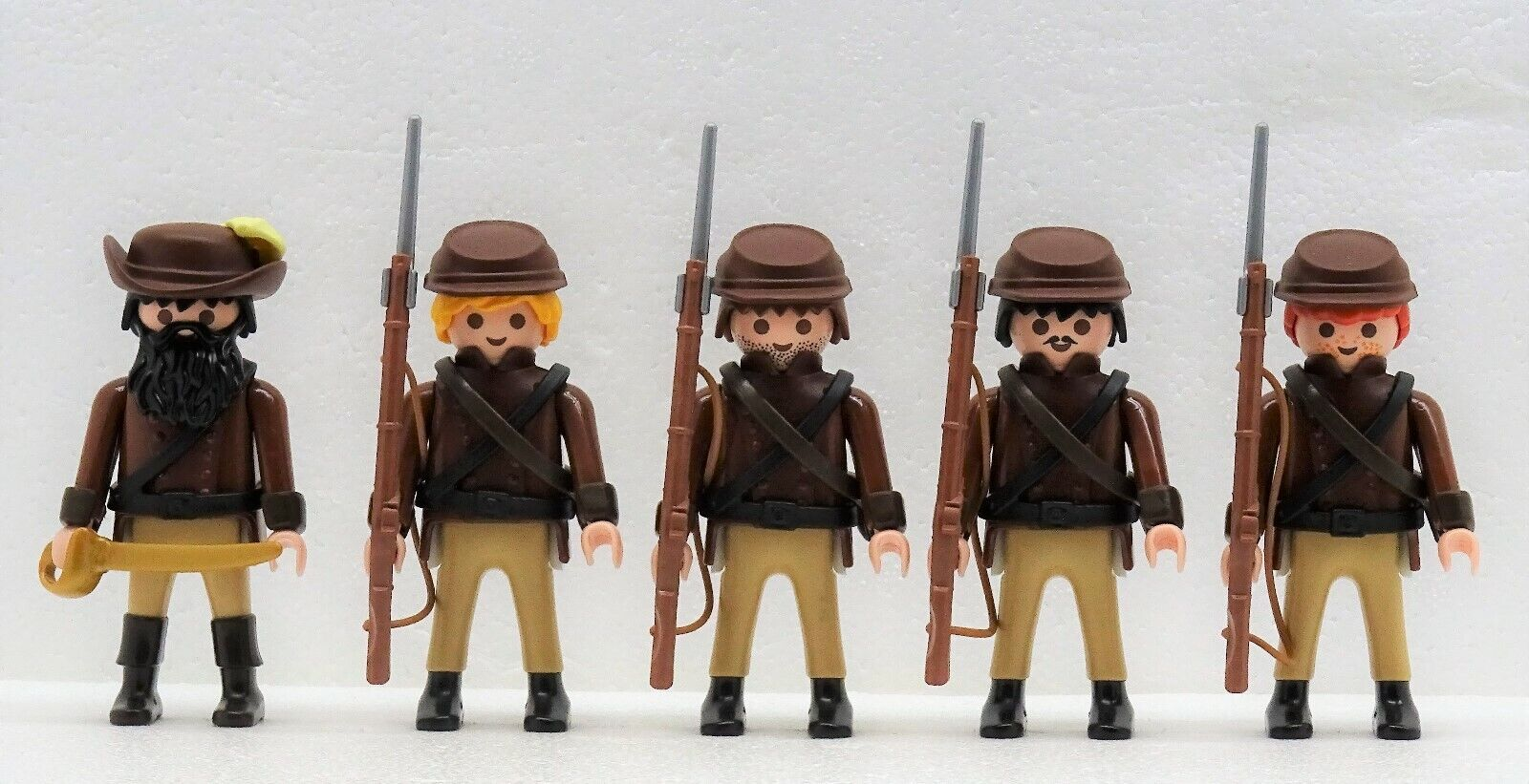 5 Sudistes Bcourir  Soldats + Officier Playmobil Confederates Vs.Citoyen Du Nord  loisir