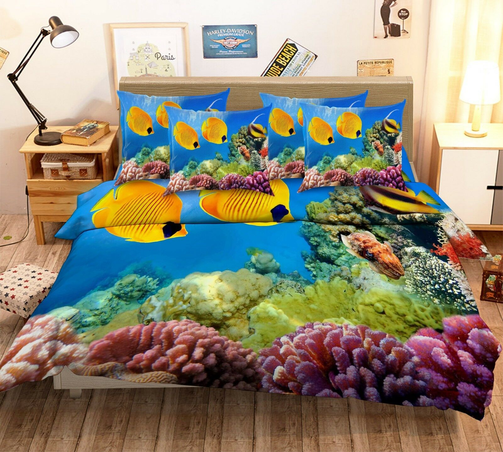 3D Tropical Fish Coral 1 Bed Pillowcases Pillowcases Pillowcases Quilt Duvet Cover Set Single Queen King 9ad6e6