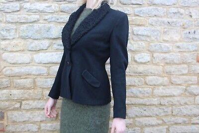 Capace Vintage 1950s Elmoor Tailored Black Faux Fur Collar Wool Felt Jacket M 10 12