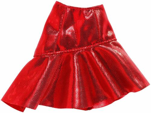 RED METALLIC ASYMMETRICAL RUFFLE skirt  for Barbie doll NEW IN BOX