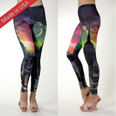 New Galaxy Fantasy Cosmic Dark City Night View Yoga Leggings Tight Pants USA