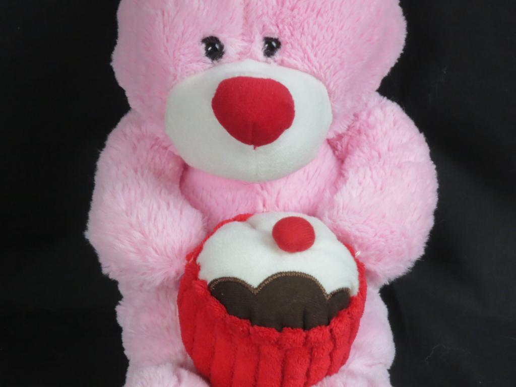 GOFFA INTERNATIONAL BIRTHDAY SOFT PINK HAPPY CUPCAKE CAKE PLUSH TEDDY BEAR GIFT 1964d1