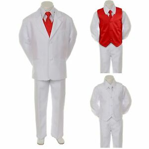 6c1440c9f New Boy Kid Child Formal Wedding Party 7pc White Suit Tuxedo + Red ...
