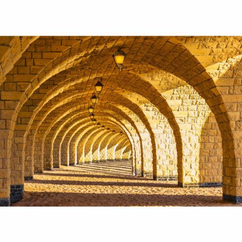Fototapete Arkaden Perspektive Gewölbe Säulen Sandstein Steinwand no 66