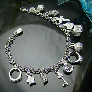 925-nice-best-Silver-Plated-Fashion-Women-13-Charm-pendant-Beautiful-Bracelet