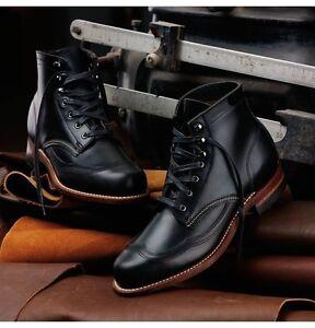 273647ef08b Image is loading Handmade-men-black-genuine-leather-ankle-boots-Men-