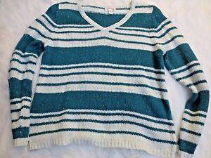 St-Johns-Bay-Pullover-Sweater-Womens-XL-Blue-White-Stripe-Long-Sleeve-V-Neck