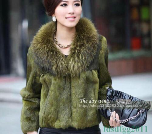 Outwear Jacket Rabbit Fox Coat Winter Genuine Fur Real Womens Garment Collar fWqagRwB0