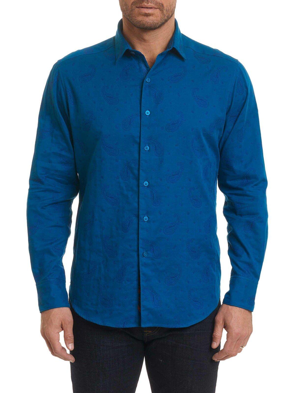 New Robert Graham Wayfarer Sport Shirt Classic Fit Größe Medium Blau Paisley