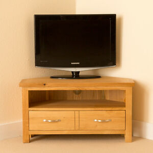 Newlyn-Oak-Corner-TV-Stand-Light-Oak-TV-Unit-Corner-TV-Cabinet-Brand-New