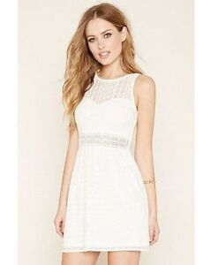 130b31c08b7 Image is loading Forever-21-White-Mesh-Ornate-Lace-Embroidered-Crochet-