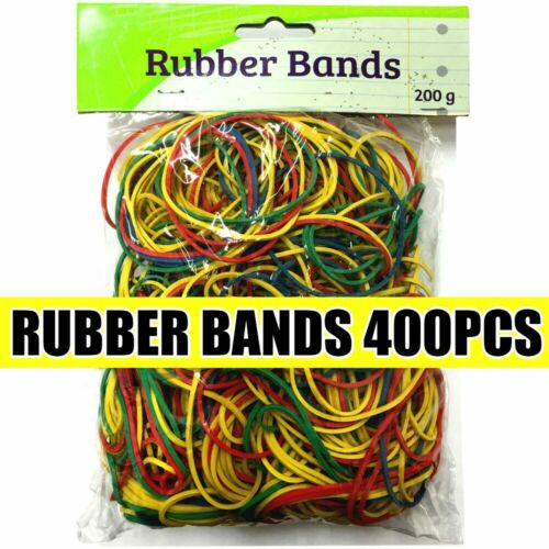 400pcs Strong Elastic Assorted Colors Rubber Bands No.18 for Home School Office