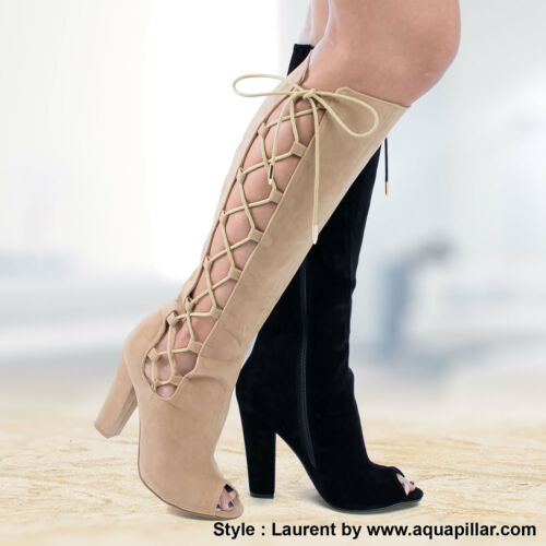 Laurent Knee High Lace Up Peep Toe Block High Heel Boots