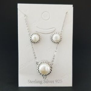 925-Sterling-Silver-White-Pearl-Pendant-Chain-Necklace-Stud-Earrings-Set