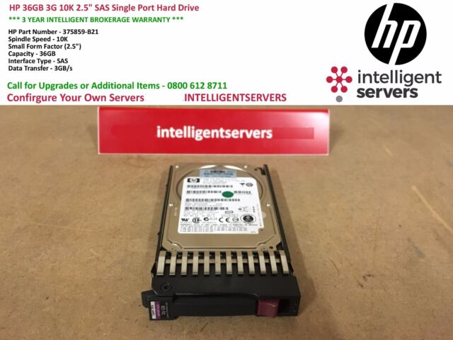 "HP 36GB 3G 10K 2.5"" SAS Single Port Hard Drive ** 375859-B21 / 376596-001 **"