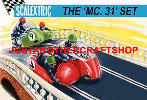 Scalextric-MC31-Motocicleta-amp-Sidecar-Set-1964-Gran-Poster-Signo-de-anuncio-Shop-A3