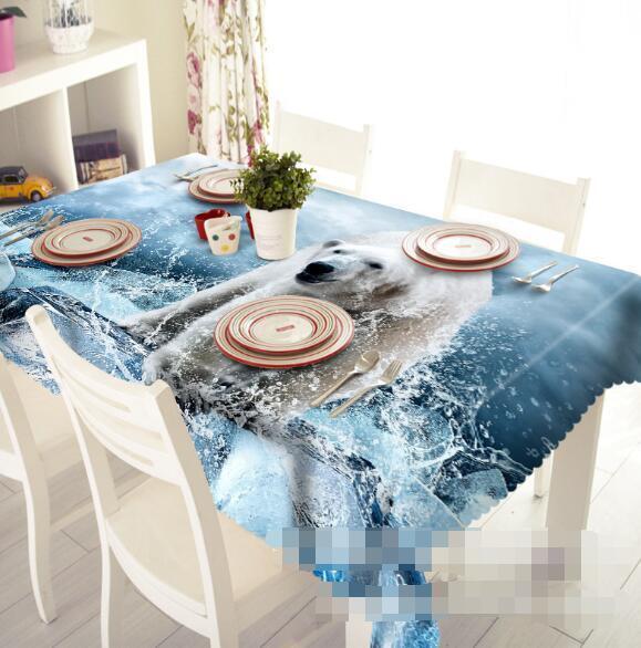 3D Bear Sea 5 Tablecloth Table Cover Cloth Birthday Party Event AJ WALLPAPER AU