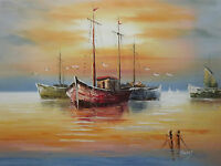boats large oil painting canvas seascape ocean fishing sailing sea original art