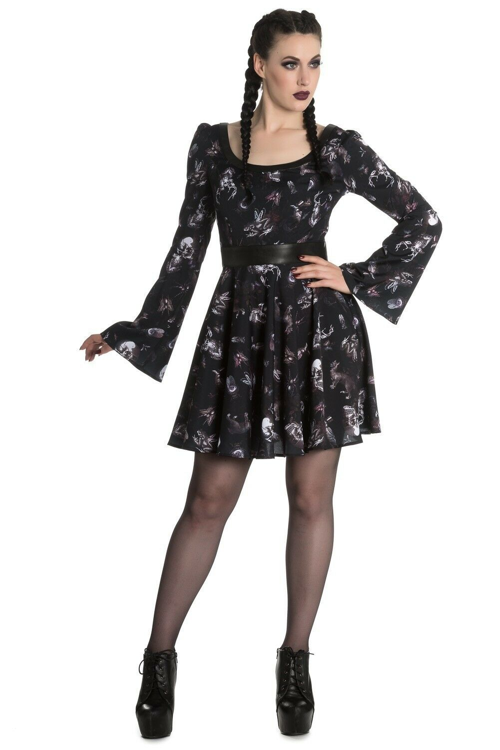 Hell Bunny Taxidermy Dress Skull Stag Bird Cat Spider 8-22 Plus Size Goth Occult