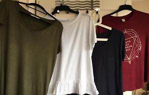 Ladies Tops X 4 Bundle Size 12 Khaki Navy Maroon Vest Tshirts H&M NEXT Summer