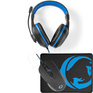 PC Gaming Stereo Headset Kopfhörer + LED USB Maus 3200 DPI + Mauspad Gaming Set