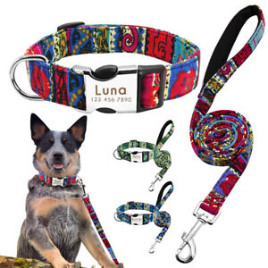 Nylon-Tribal-Personalised-Dog-Collar-and-Leads-Engraved-Name-ID-Collar-Tag-S-M-L