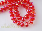 100pcs 4x6mm Faceted Rondelle Crystal Glass Loose Spacer Bead Red AB Craft